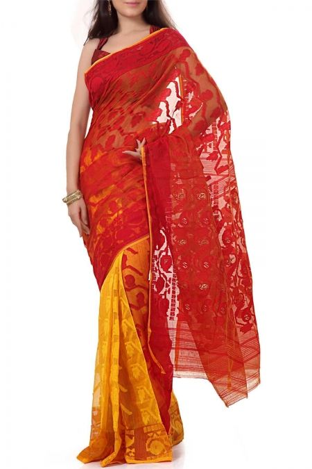 Jamdani-saree-red-yellow